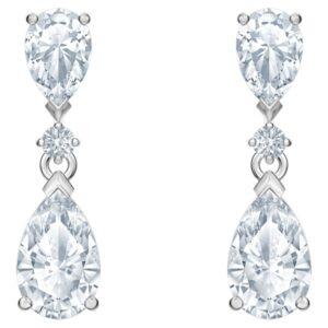 swarovski palace drop pierced earrings white rhodium plated 5512393