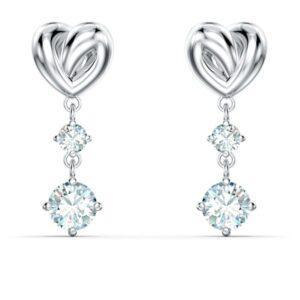 swarovski lifelong heart pierced earrings white rhodium plated 5517943
