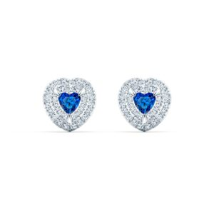 swarovski one stud pierced earrings blue rhodium plated 5511685
