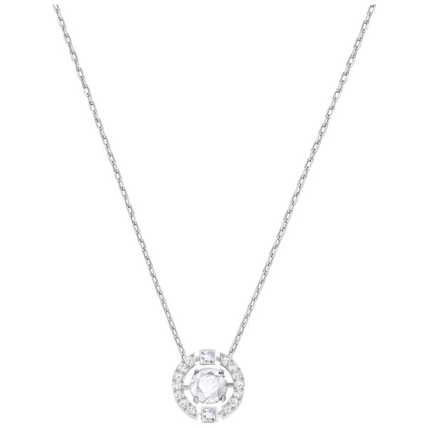 Sparkling Dance Round Necklace, White