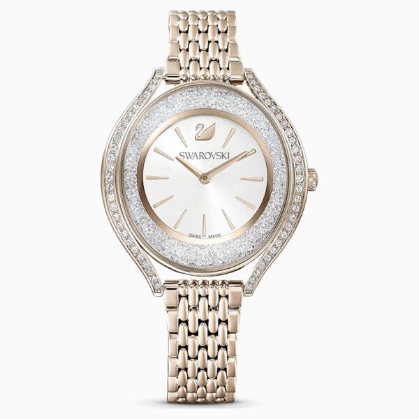 Crystalline Aura Watch, Metal Bracelet, Gold tone, Champagne-gold tone PVD