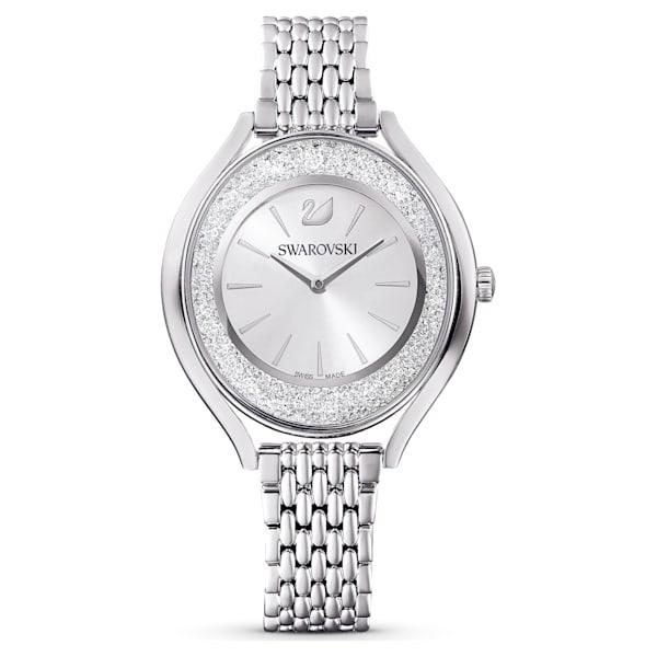 swarovski crystalline aura watch metal bracelet silver tone stainless steel swarovski 5519462