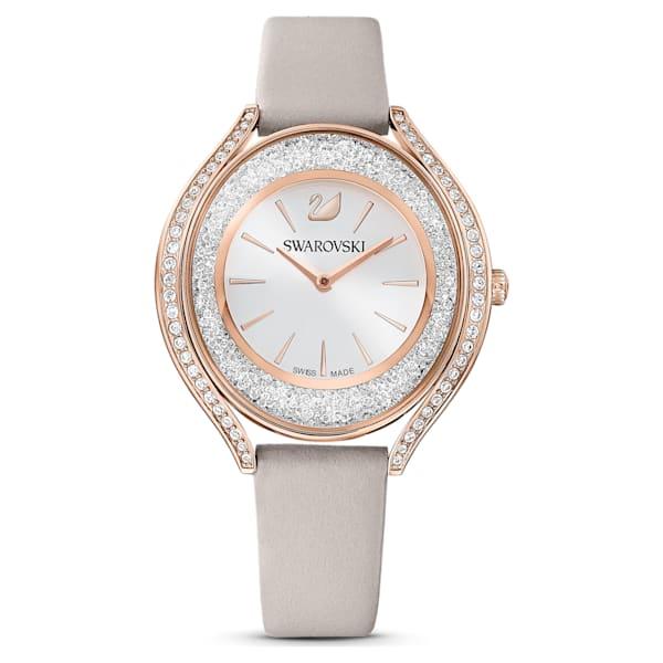 swarovski crystalline aura watch leather strap gray rose gold tone pvd swarovski 5519450