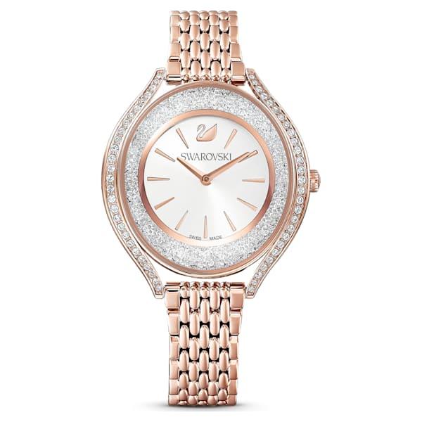 swarovski crystalline aura watch metal bracelet rose gold tone rose gold tone pvd swarovski 5519459