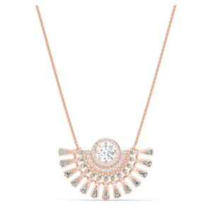 swarovski sparkling dance dial up necklace medium gray rose gold tone plated swarovski 5578116