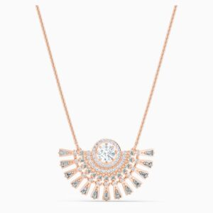 swarovski sparkling dance dial up necklace medium gray rose gold tone plated swarovski 5578116