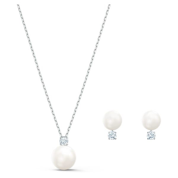 swarovski treasure pearl set white rhodium plated swarovski 5569758