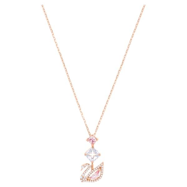 swarovski dazzling swan y necklace multi colored rose gold tone plated swarovski 5473024