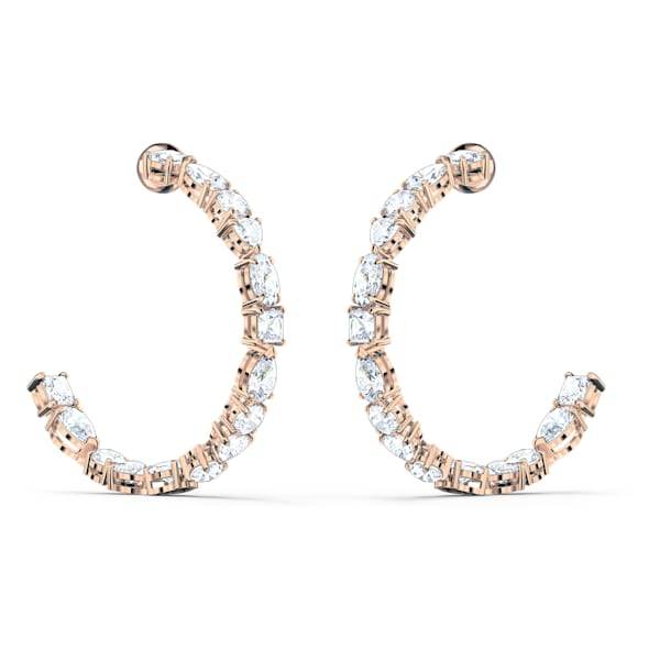 swarovski tennis deluxe mixed hoop pierced earrings white rose gold tone plated swarovski 5585438