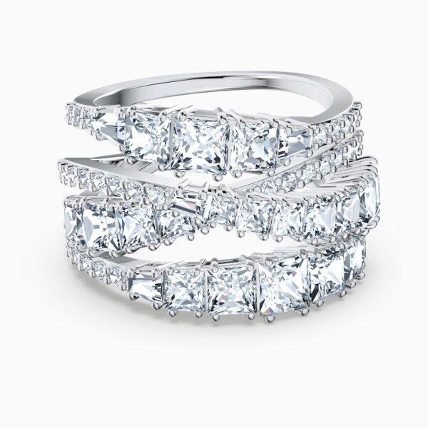swarovski twist wrap ring white rhodium plated swarovski 5580952