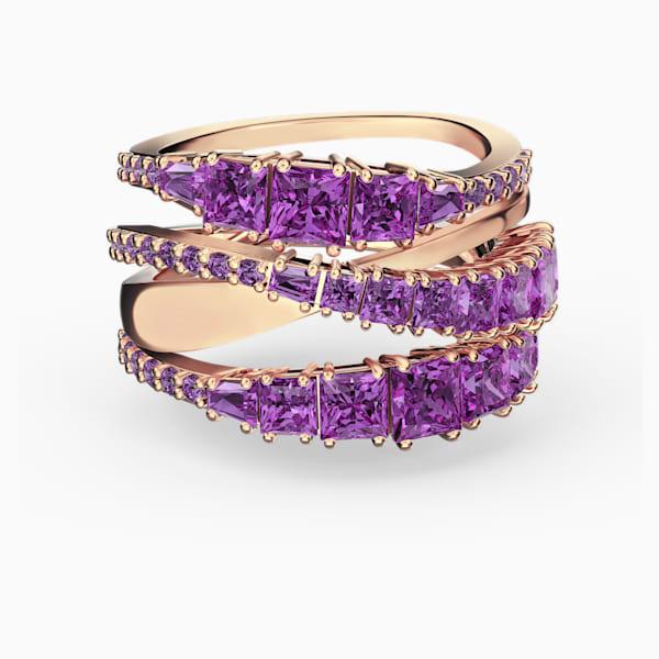 swarovski twist wrap ring purple rose gold tone plated