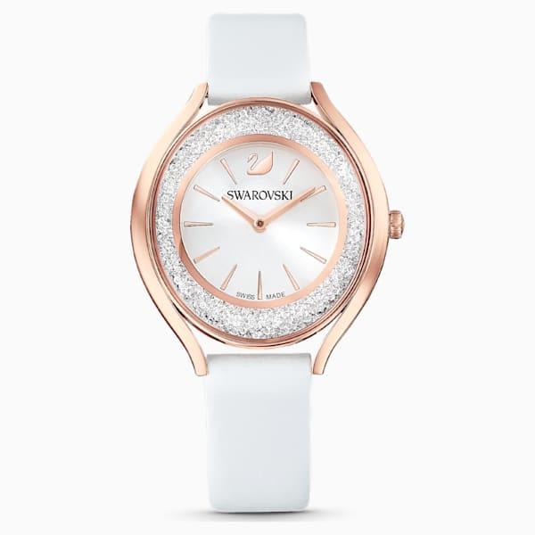 swarovski crystalline aura watch leather strap white rose gold tone pvd swarovski 5519453