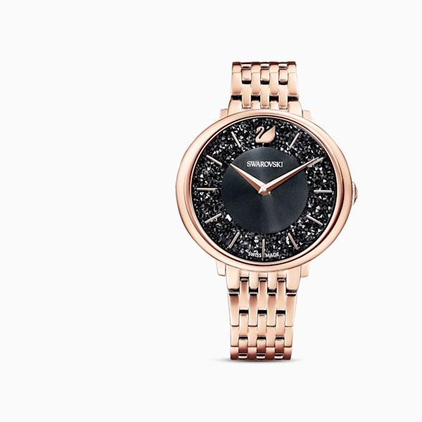 swarovski crystalline chic watch metal bracelet black rose gold tone pvd swarovski 5544587
