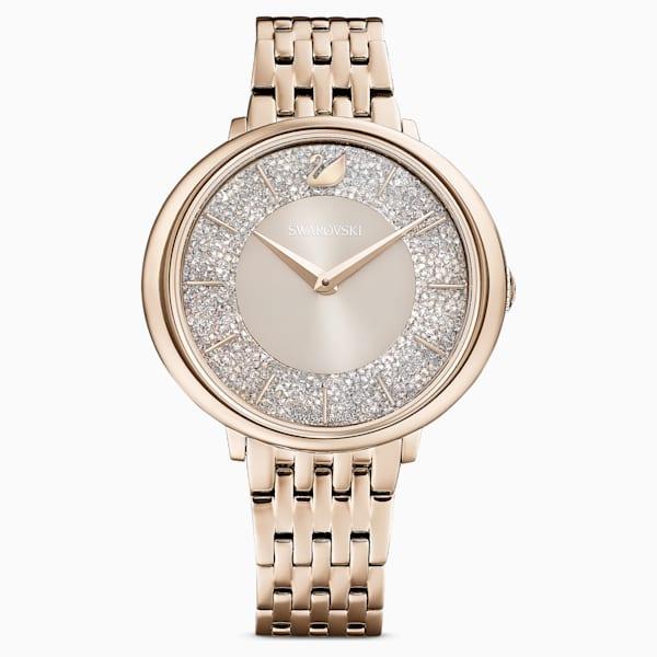 swarovski crystalline chic watch metal bracelet gray champagne gold tone pvd swarovski 5547611
