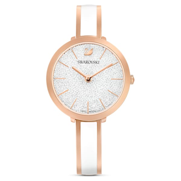 swarovski crystalline delight watch metal bracelet white rose gold tone pvd swarovski 5580541