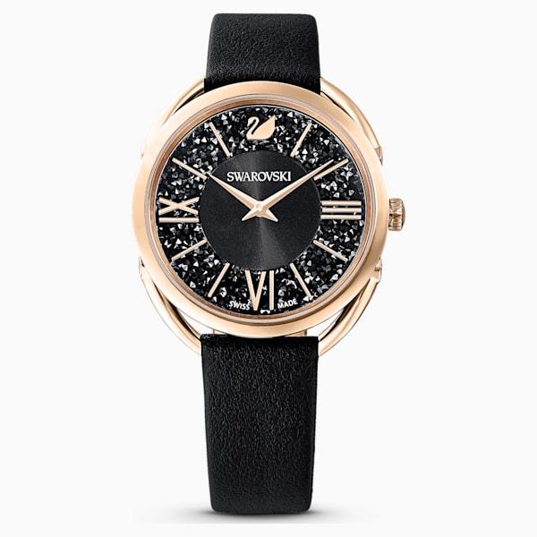 swarovski crystalline glam watch leather strap black rose gold tone pvd swarovski 5452452