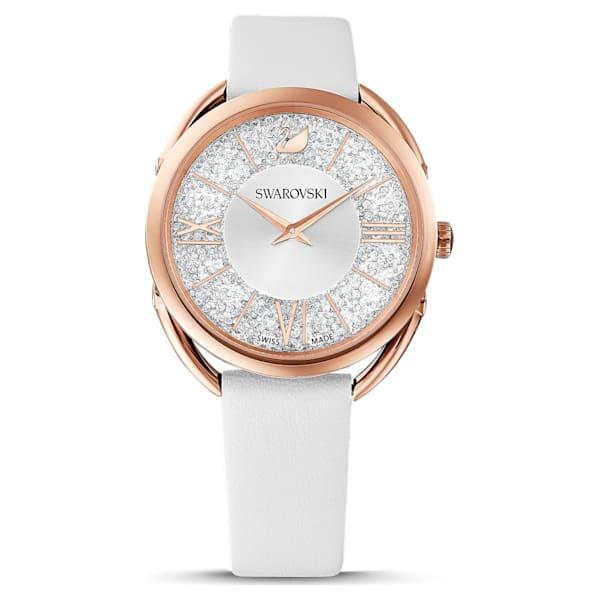 swarovski crystalline glam watch leather strap white rose gold tone pvd swarovski 5452459