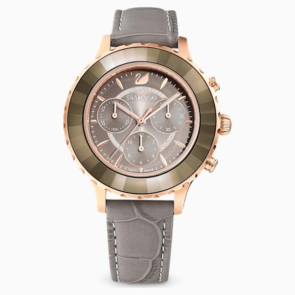 swarovski octea lux chrono watch leather strap gray rose gold tone pvd swarovski 5452495
