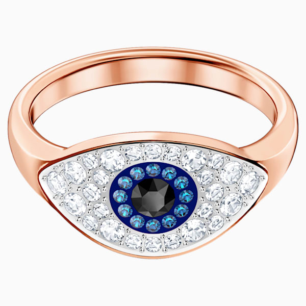 swarovski symbolic evil eye ring blue rose gold tone plated swarovski 5425858