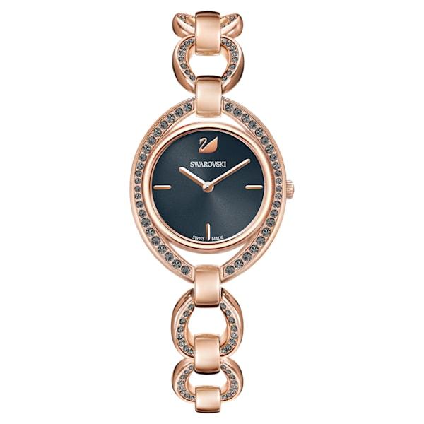 swarovski stella watch metal bracelet dark gray rose gold tone pvd swarovski 5376806