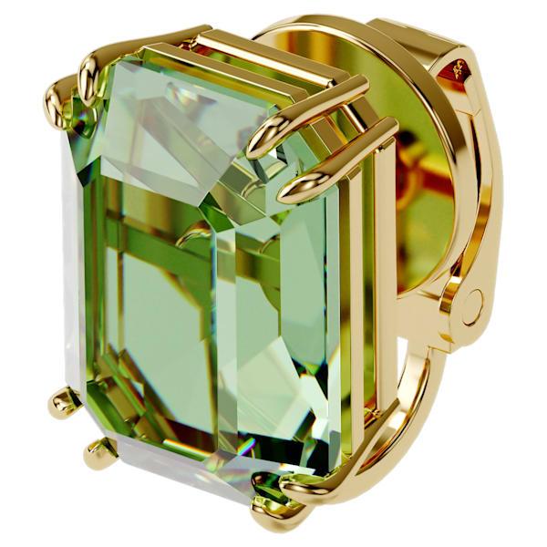 swarovski millenia clip earring single green gold tone plated swarovski 5598358