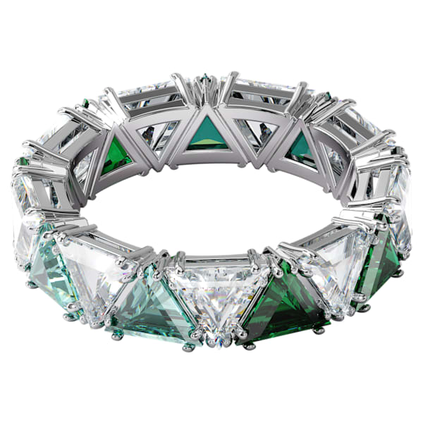 swarovski millenia cocktail ring triangle cut crystals green rhodium plated swarovski 5600760