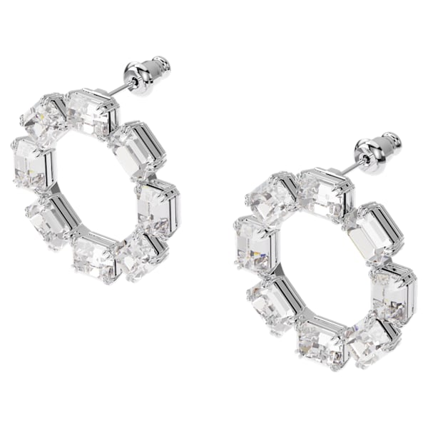 swarovski millenia earrings circle white rhodium plated swarovski 5602780