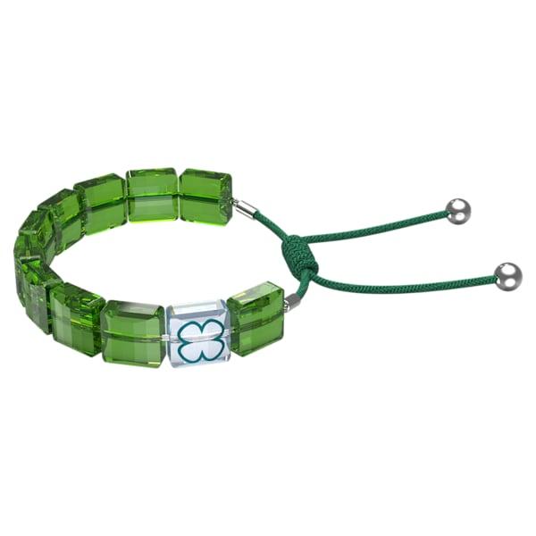swarovski letra bracelet clover green rhodium plated swarovski 5614970
