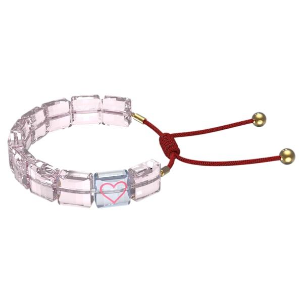 swarovski letra bracelet heart pink gold tone plated swarovski 5615001