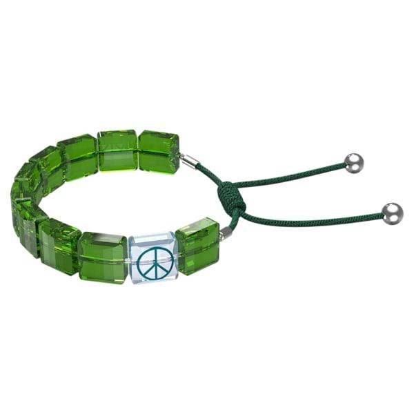 swarovski letra bracelet peace green rhodium plated swarovski 5615003